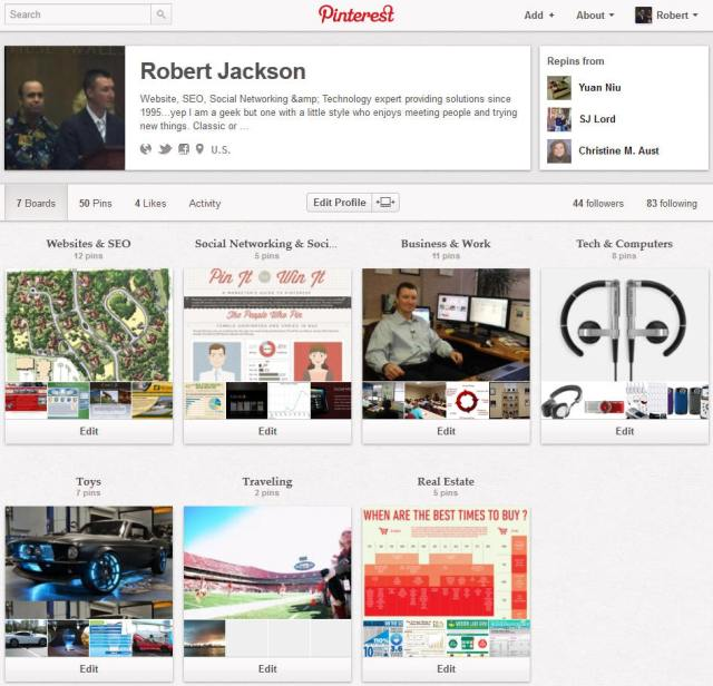 Pinterest Boards page on Pinterest Social Network
