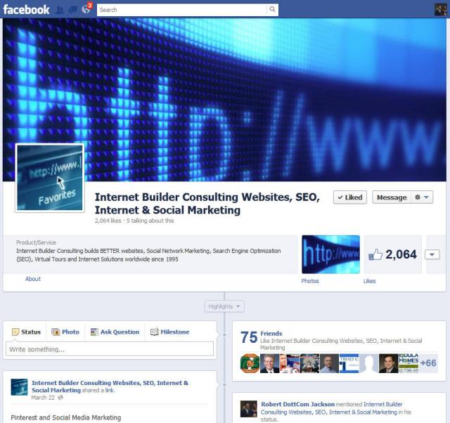 Facebook Internet Marketing Experts, Internet Builder Consulting business page